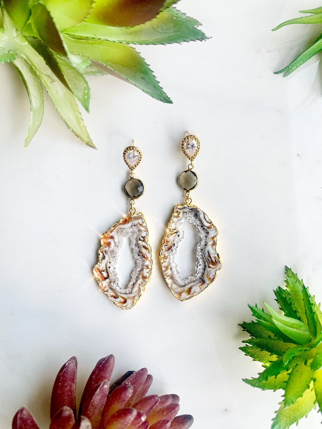 Brown Agate Quartz Earrings