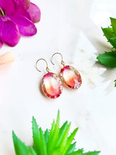 Load image into Gallery viewer, Pink and Yellow Glass Drop Earrings