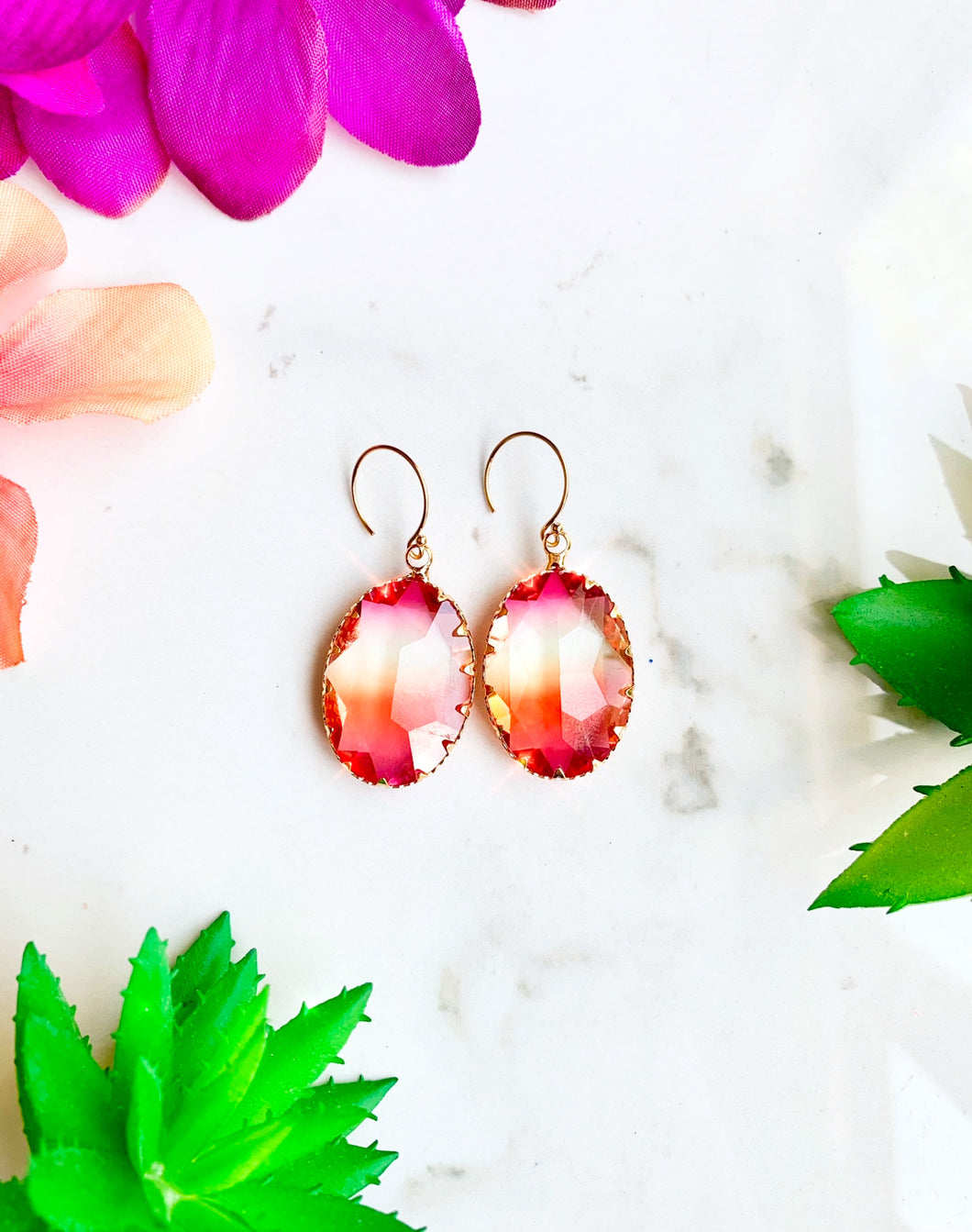 Pink and Yellow Glass Drop Earrings