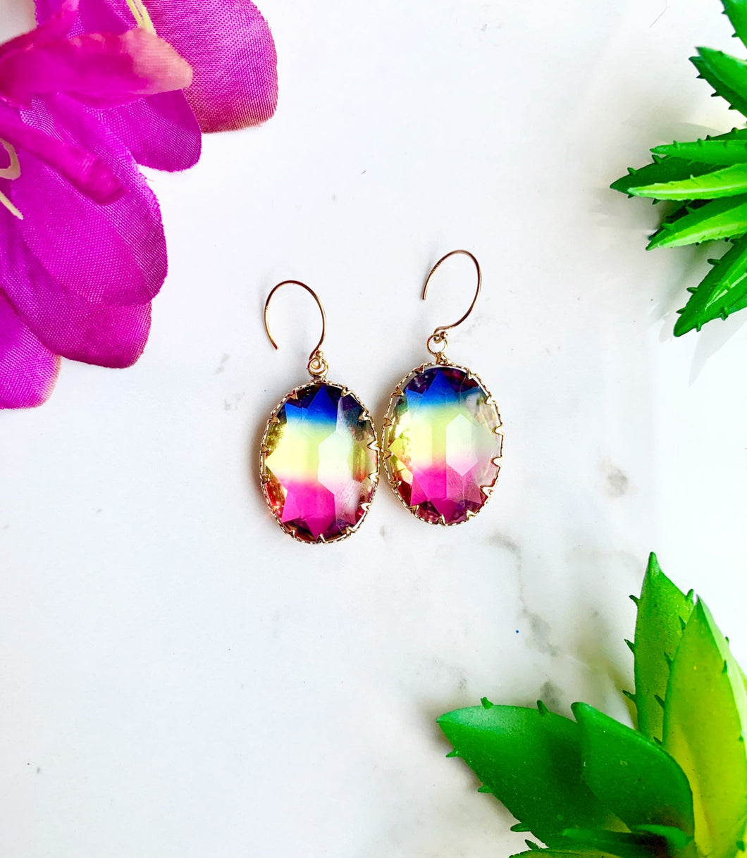 Blue, Yellow, and Pink Glass Drop Earrings