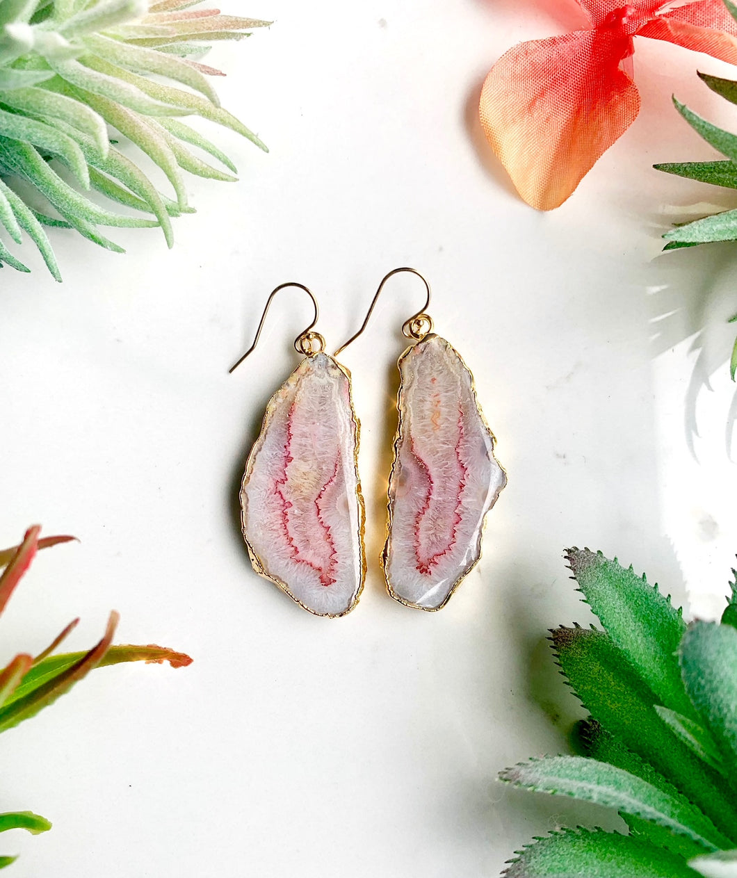 Pink and Yellow Agate Earrings