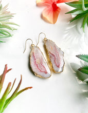 Load image into Gallery viewer, Pink and Yellow Agate Earrings