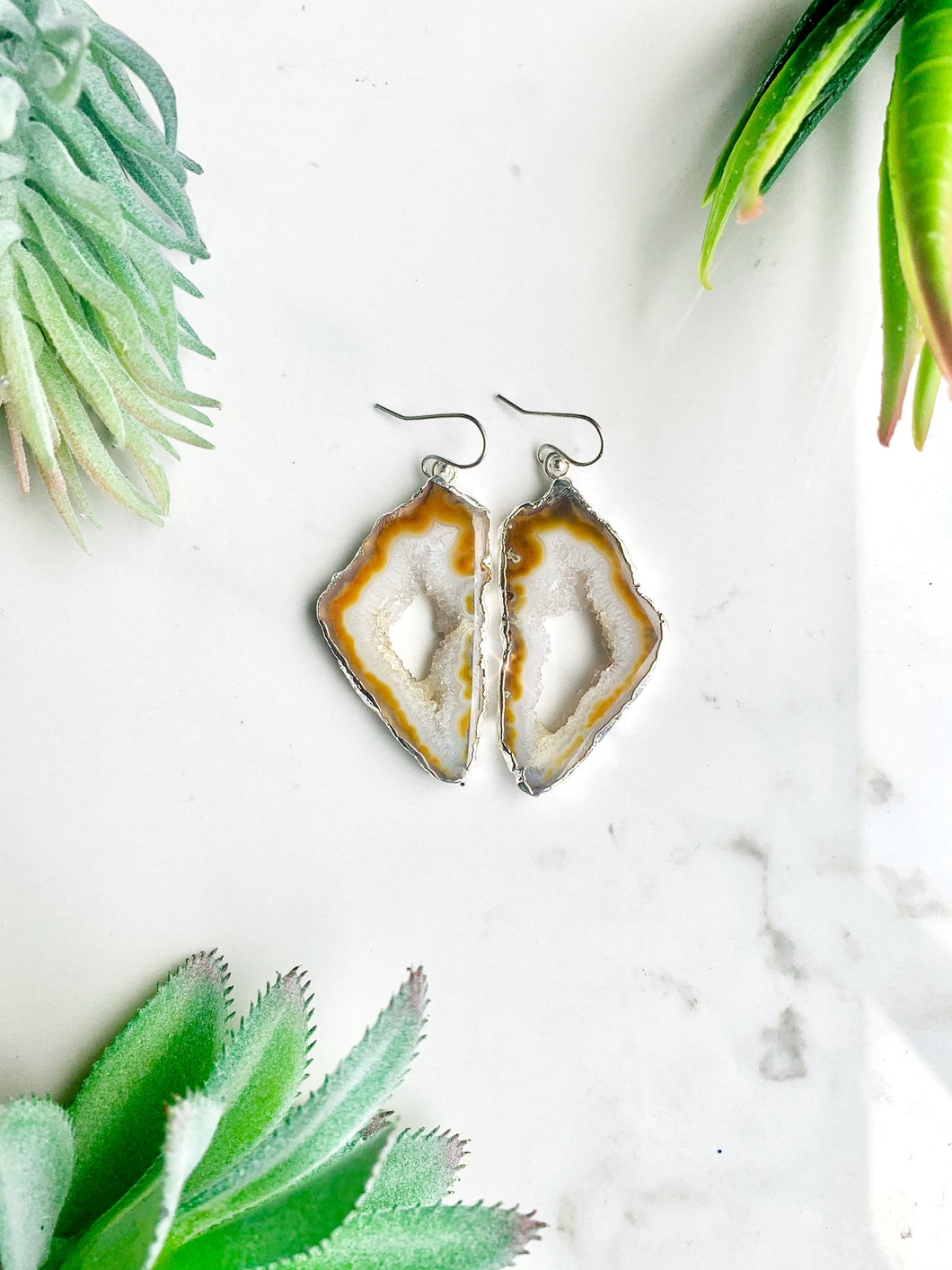 White and Yellow Agate Quartz Earrings