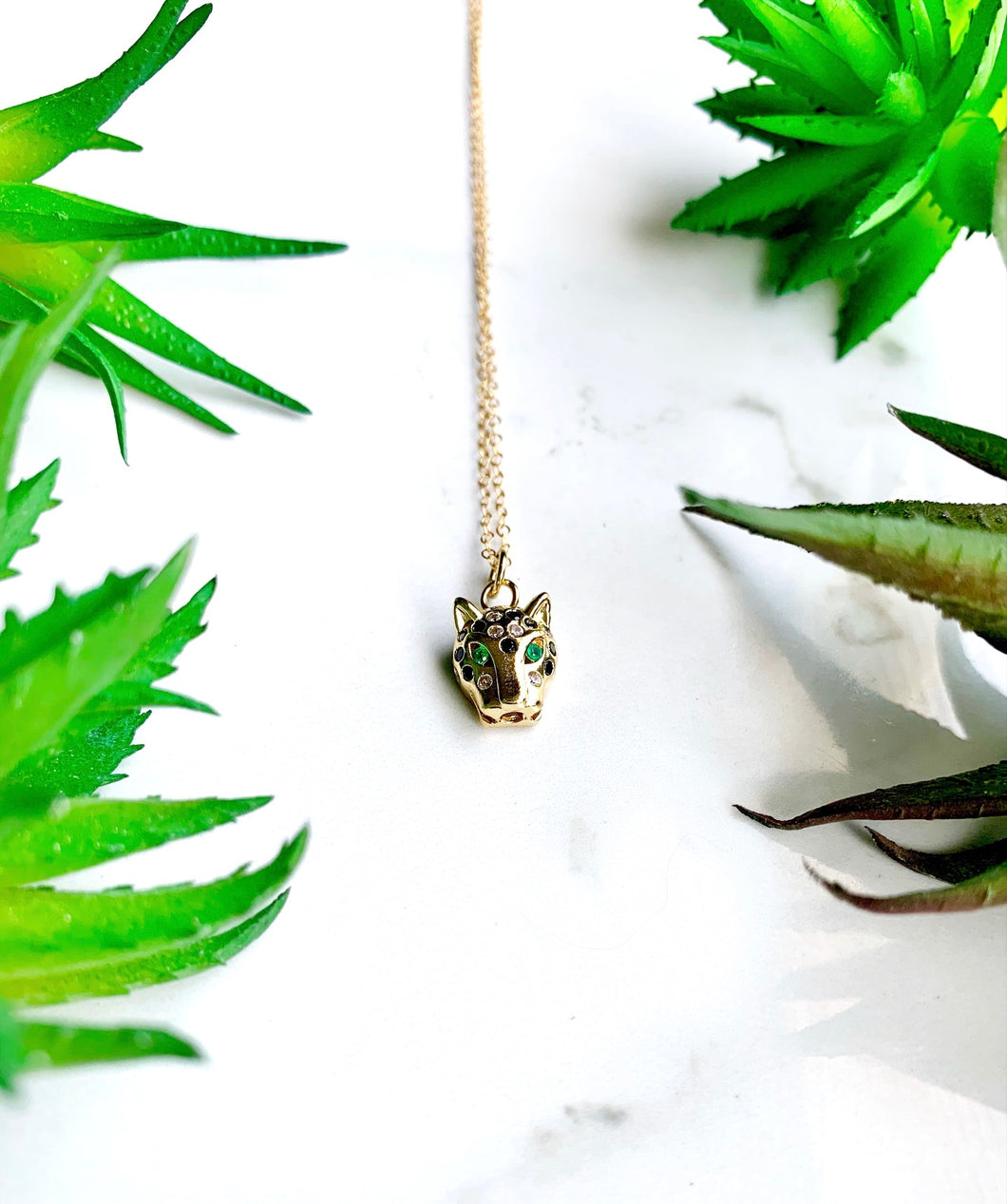 Gold Panther Charm Necklace