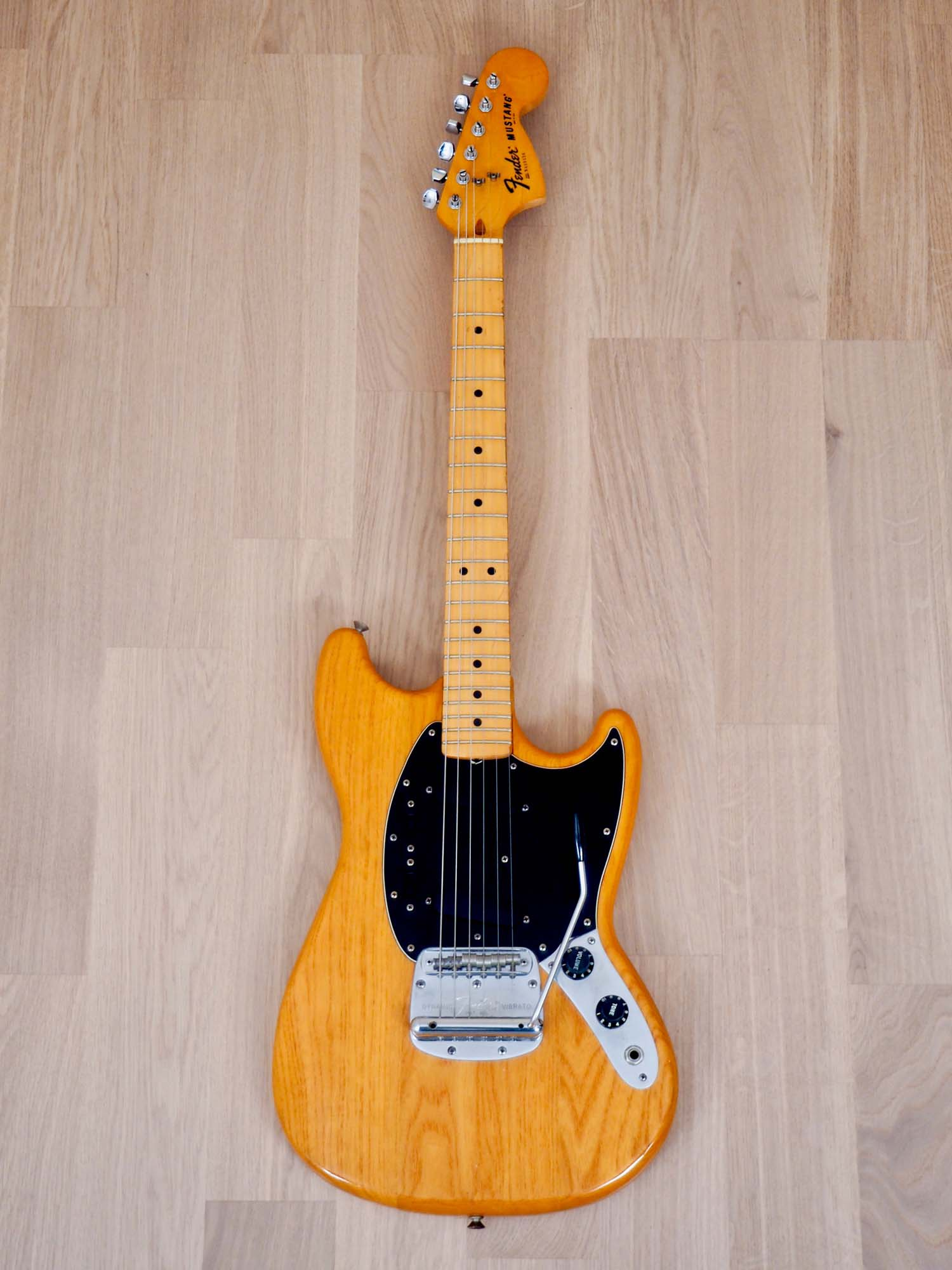 1978 Fender Mustang Vintage Offset Electric Guitar Natural, Ash Body & Maple Board, 100% Original