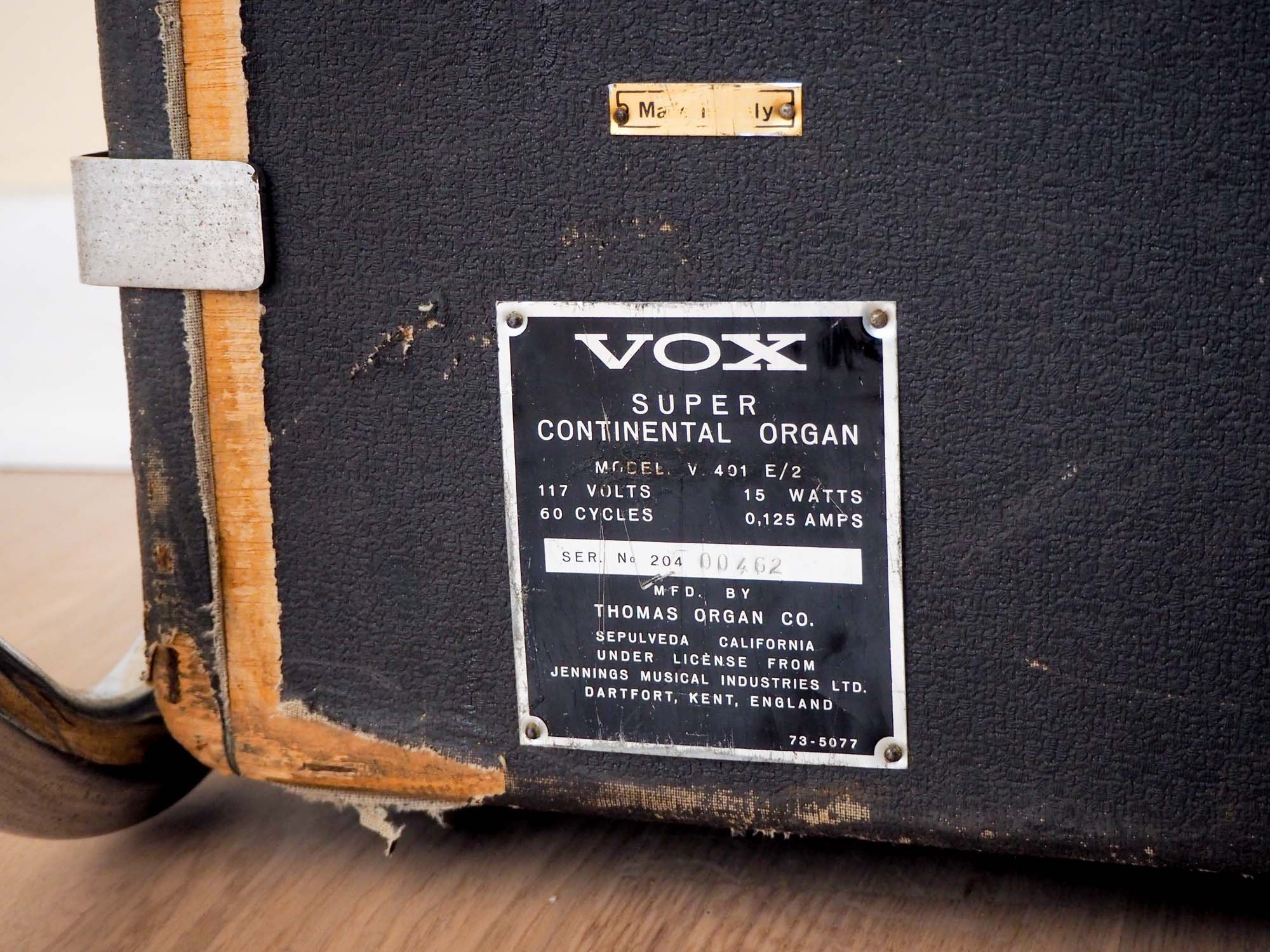 1967 Vox Super Continental Vintage Dual Manual Combo Organ V401 E/2 w/ Z Legs & Case, Serviced