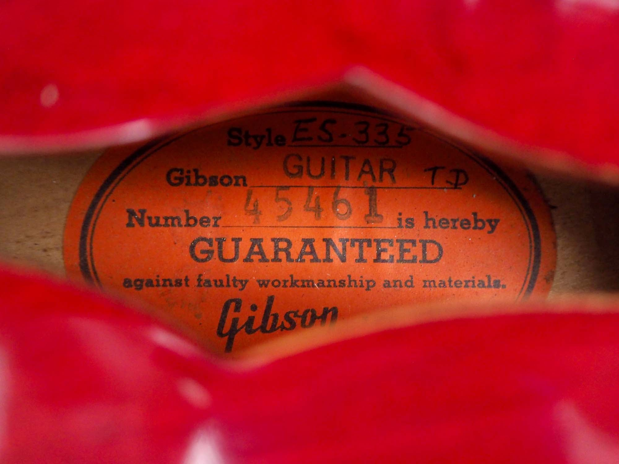 1962 Gibson ES-335TDC Vintage Electric Guitar Cherry Collector-Grade 100% Original w/ PAFs, Case