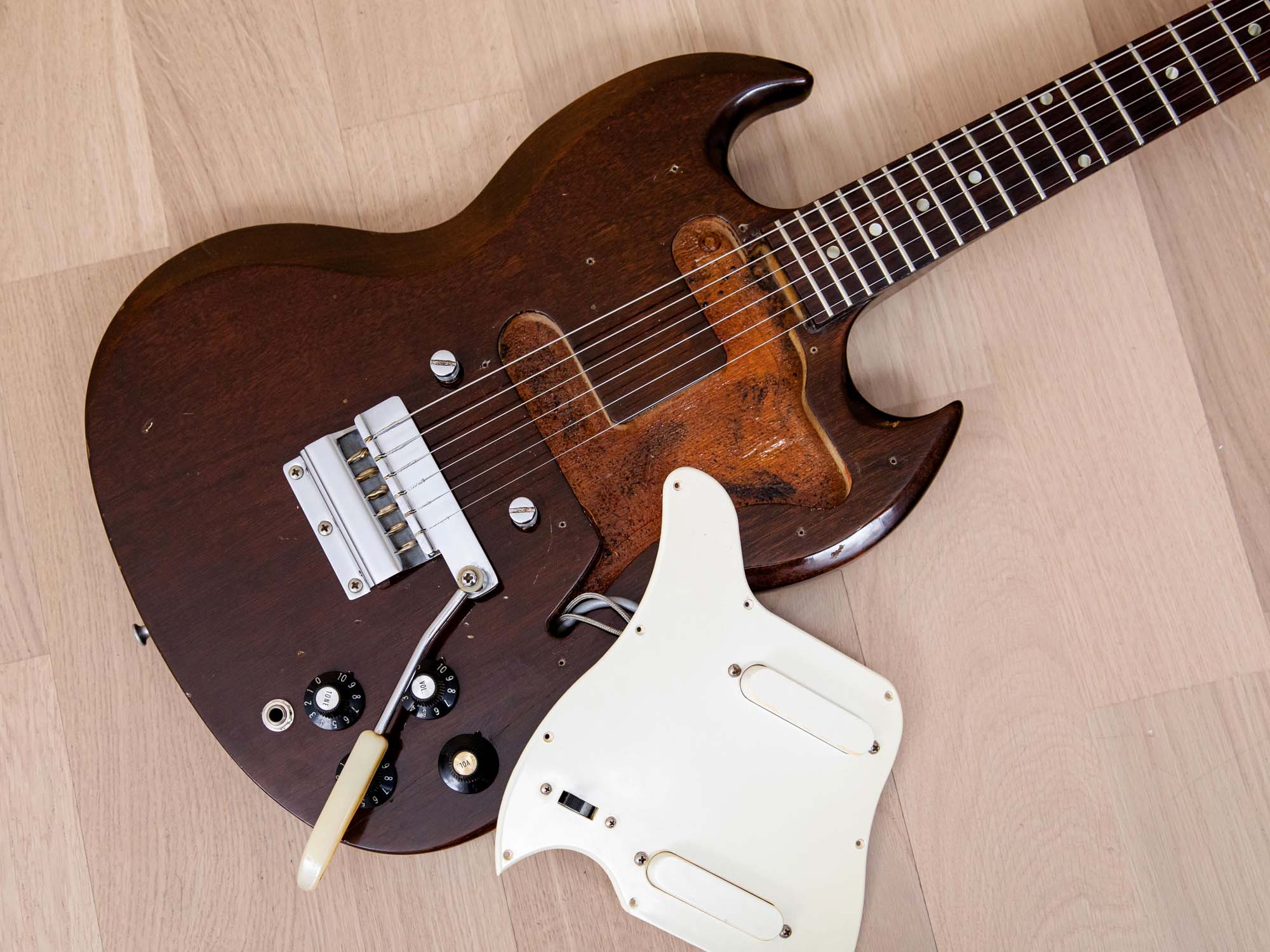 1969 Gibson SG Melody Maker Vintage Electric Guitar Walnut w/ Vibrola & Case