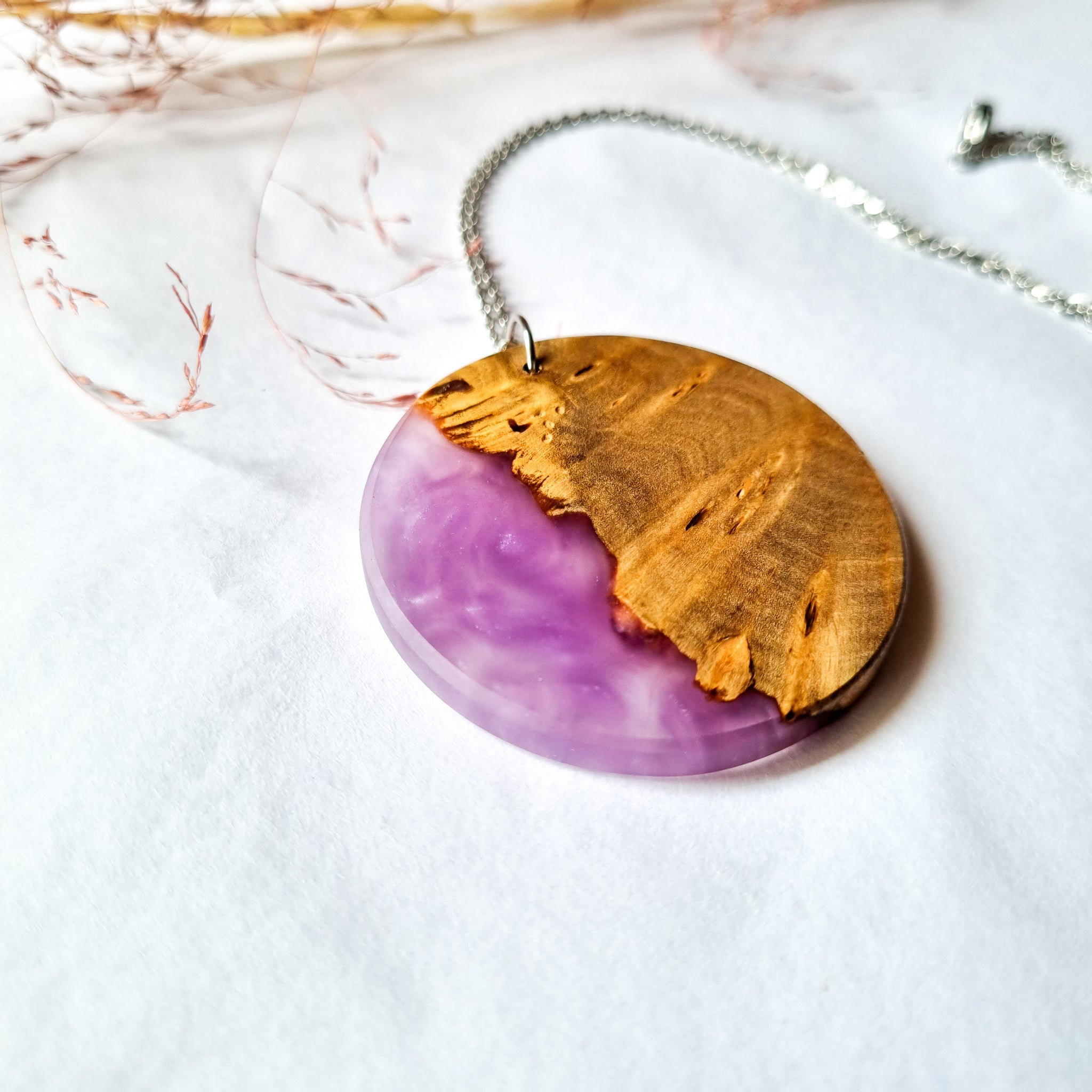 Wood and Resin Round Pendant