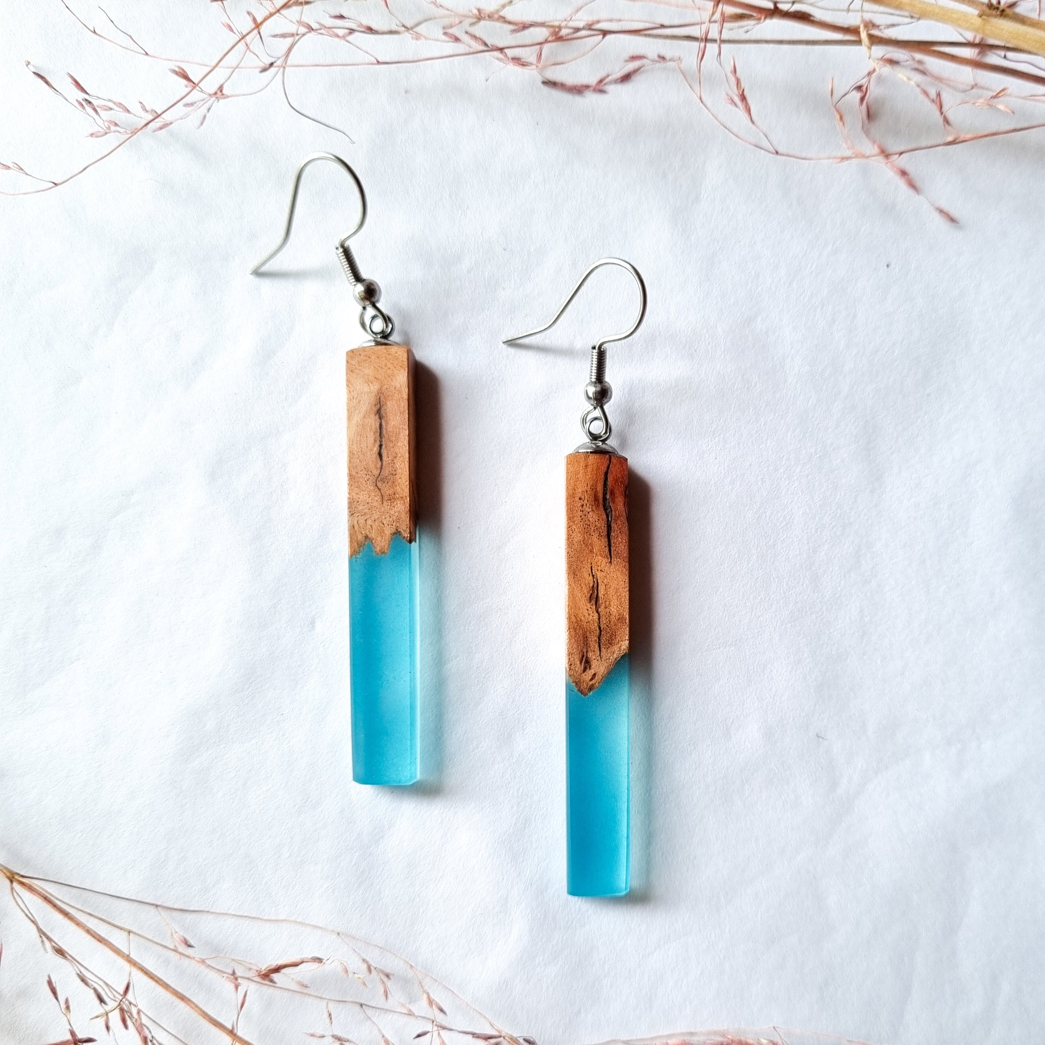 Wood and Resin Linear Earrings
