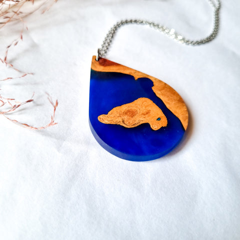 Wood and Resin Teardrop Pendant
