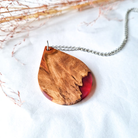 Wood and Resin Small Teardrop Pendant