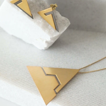 Triangle Gold Plated Silver Jewelry Set - Ariadne and Theseus