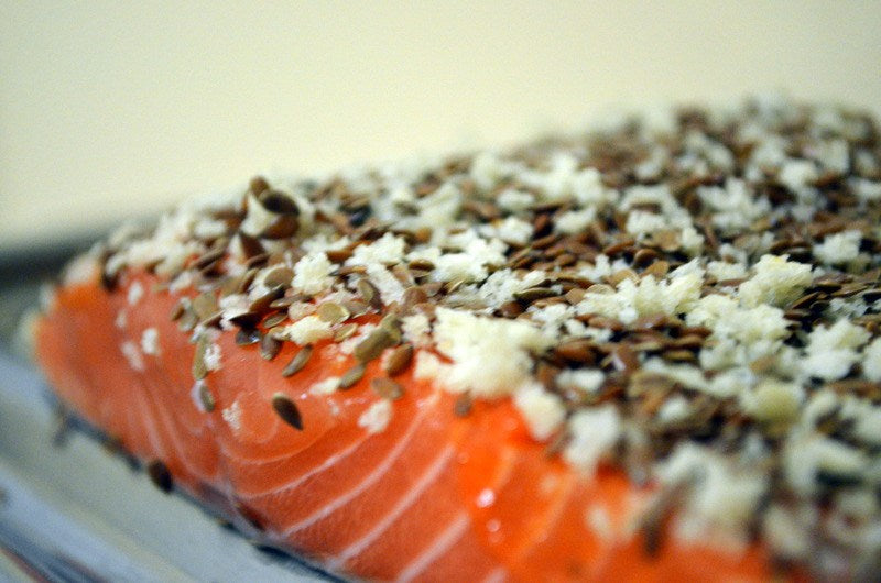 flaxseed crusted salmon