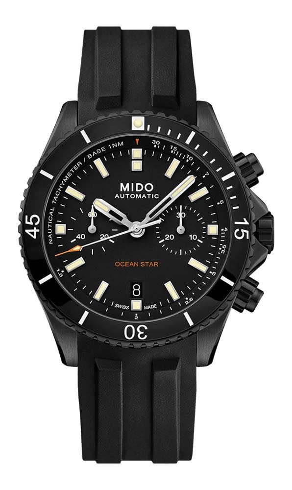 Mido Ocean Star Chronograph - Black DLC Coating with Ceramic Bezel - Interchangeable Black Rubber and Black Fabric Strap
