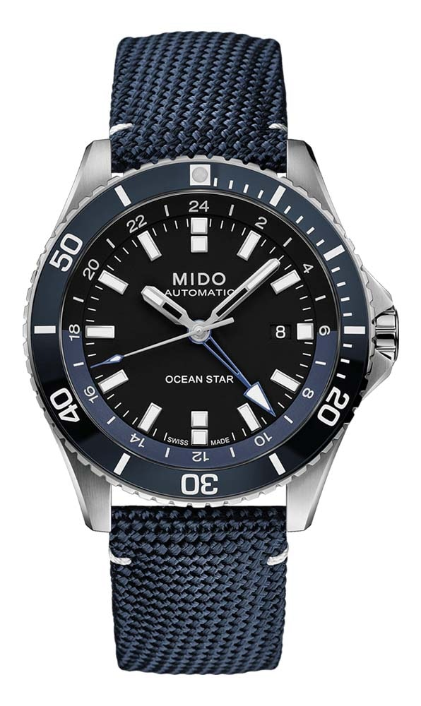 Mido Ocean Star GMT - Stainless Steel and Ceramic Bezel - Blue Fabric Strap
