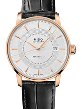 Mido Baroncelli Signature - Stainless Steel with Rose Gold PVD - Black Leather Strap