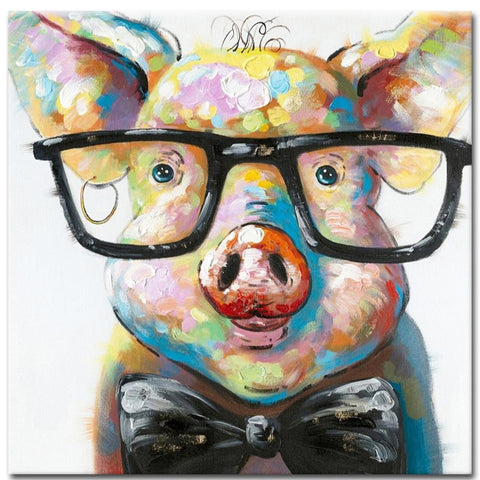 100% Hand Painted Oil Painting Pig with Glasses