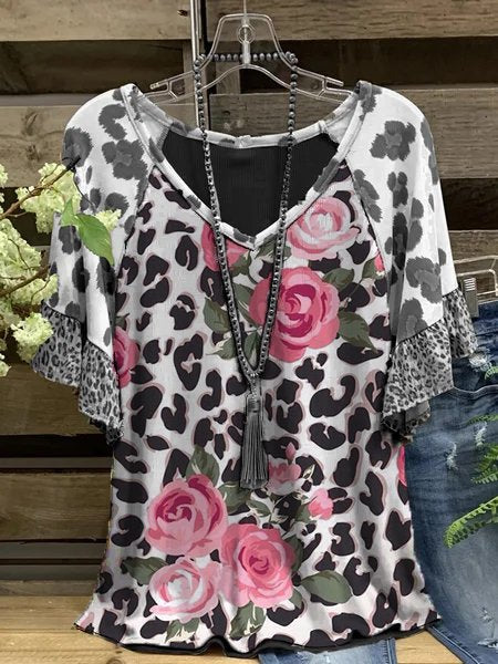 Leopard-Print Casual V Neck Shirts & Tops