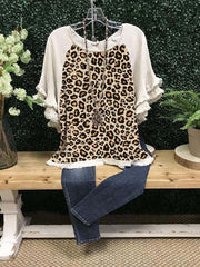 Casual Short Sleeve Crew Neck Leopard-print Shirts & Tops