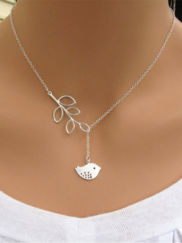 Fashion Bird Leaf Necklace