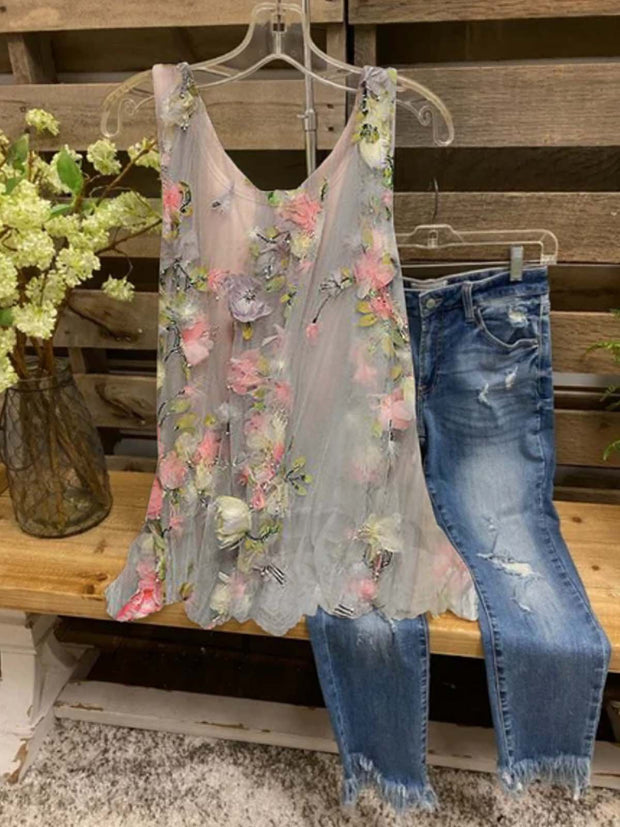 Floral  Sleeveless  Printed  Polyester  Crew Neck  Casual Summer  Gray Top