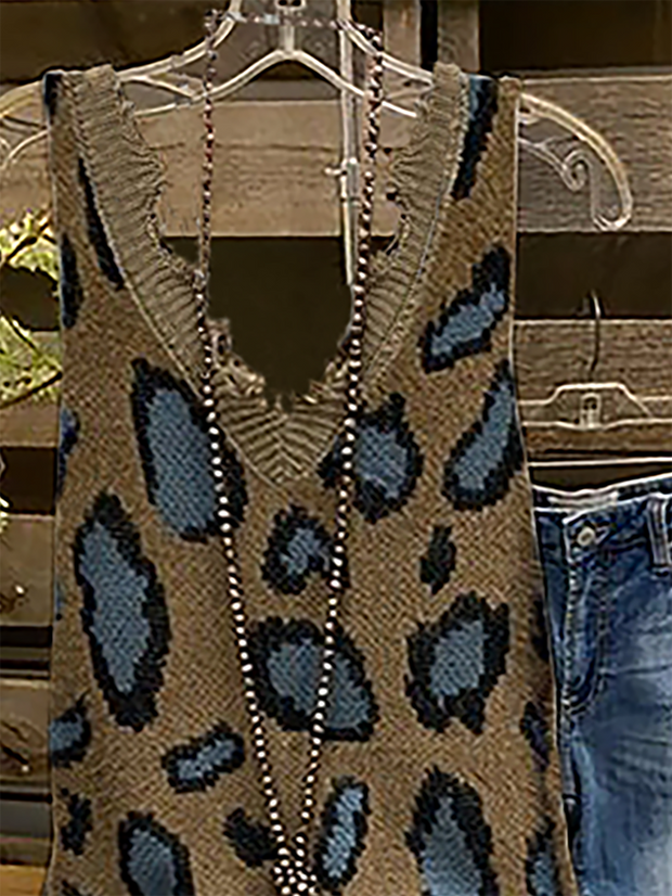 Plus size Leopard Sleeveless Knitted Shirts & Tops
