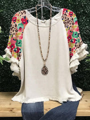 Casual Short Sleeve Floral-Print Shirts & Tops