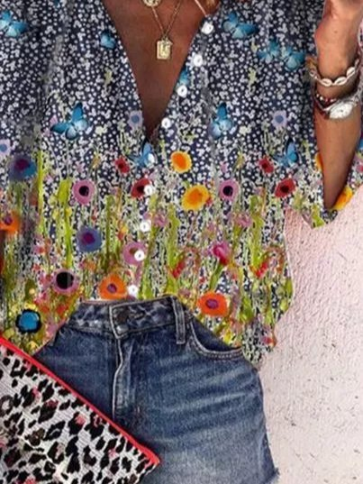 V Neck Floral Holiday Long Sleeve Shirts & Tops