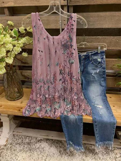 Sleeveless Floral-Print Shirts & Tops