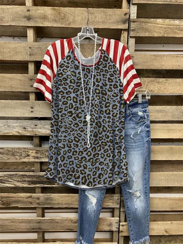 Leopard-Print Short Sleeve Cotton-Blend Casual Shirts & Tops