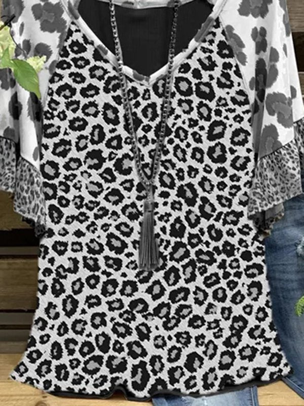 Short Sleeve Casual Leopard-print Shirts & Tops