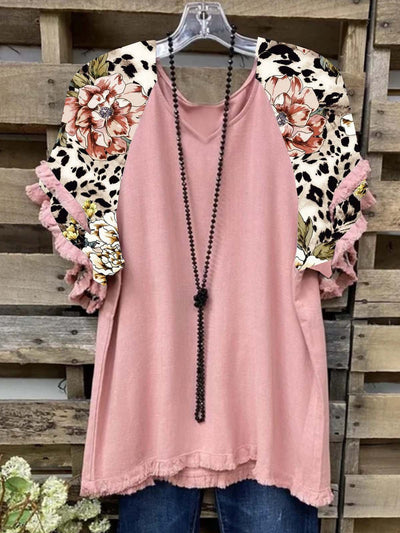 Floral  Short Sleeve  Printed  Cotton-blend  V neck  Casual  Summer  Pink Top