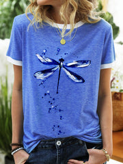 Dragonfly Pattern  Summer Cotton Shirts & Top