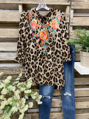Long Sleeve Vintage Jersey Leopard Shirts & Tops