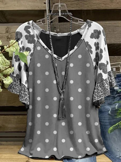 Polka Dots Short Sleeve V Neck Casual Shirts & Tops