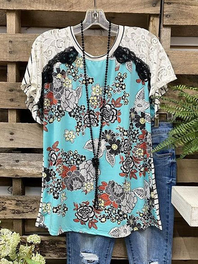Paisley  Short Sleeve  Printed  Cotton-blend  Crew Neck  Boho  Summer  Blue Top