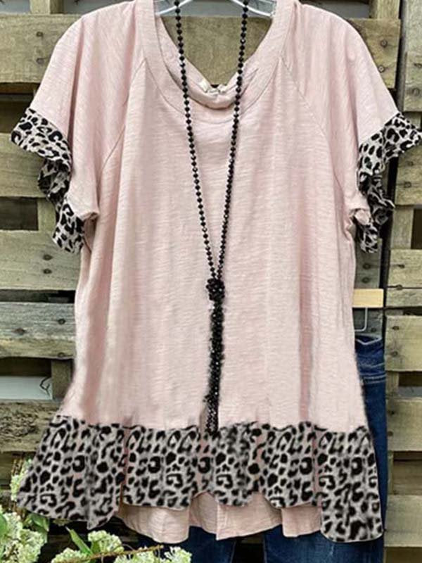 Leopard-Print Casual Short Sleeve Shirts & Tops