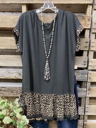 Animal Print Sleeves Round Neck Shirts & Tops