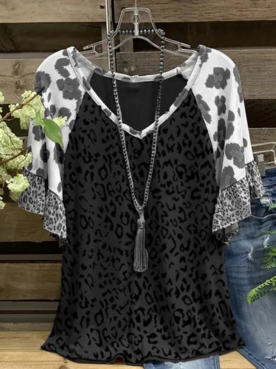 Cotton-Blend Casual V Neck Leopard-Print Shirts & Tops