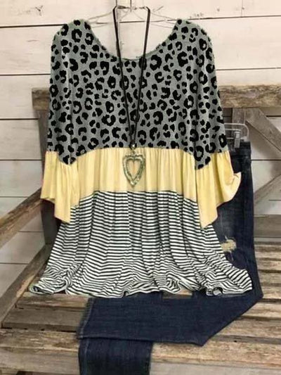 3/4 Sleeve Cotton-Blend Leopard-Print Crew Neck Shirts & Tops