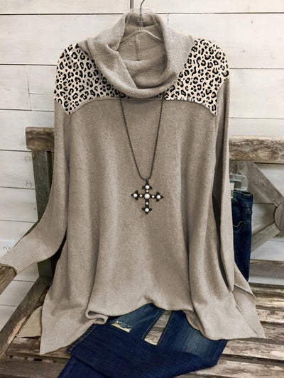 Cotton-Blend Long Sleeve Leopard Shirts & Tops