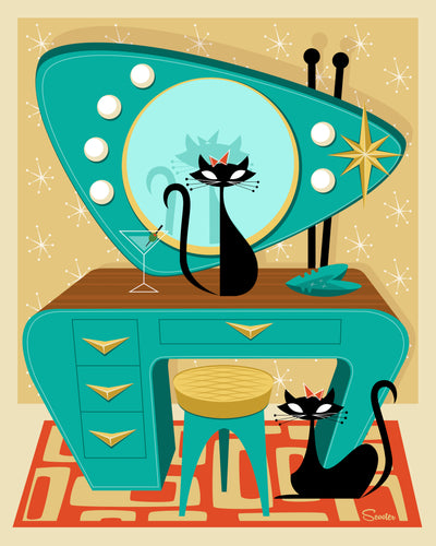 """Atomic Vanity Cats"" is a fun retro, mid century modern styled high quality print of two black cats with an atomic vanity by the artist Scooter. All prints are professionally printed, packaged, and shipped. Choose from multiple sizes and mediums."
