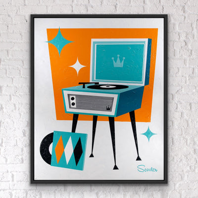 """Love Song"" is a mid-century modern styled original painting of a retro record player from the mid-century modern era. It's a 51x63"" original acrylic painting on canvas and float mounted in a 2"" deep black wooden frame, ready to hang by the artist Scooter."