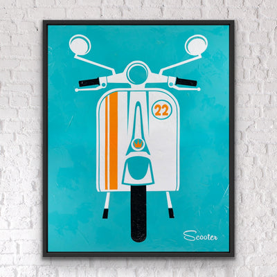 """Joy Riding"" is a mid-century modern styled original painting of a retro scooter from the mid-century modern era. It's a 51x63"" original acrylic painting on canvas and float mounted in a 2"" deep black wooden frame, ready to hang by the artist Scooter."