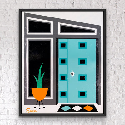 """Courageous Opportunity"" is a mid-century modern styled original painting of a front door from the mid-century modern era. It's a 51x63"" original acrylic painting on canvas and float mounted in a 2"" deep black wooden frame, ready to hang by Scott ""Scooter"" Burroughs."