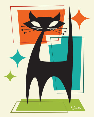 """Mister Whiskers"" is a fun, mid century modern styled high quality print of a black cat with a retro vibe by the artist Scooter. All prints are professionally printed, packaged, and shipped. Choose from multiple sizes and mediums."