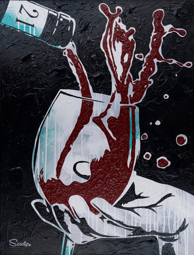 """Overflow"" is a high-quality print of Scooter's original painting of wine overflowing and spilling out of a wine glass."