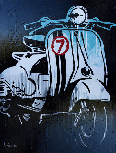 """Peace"" is a high-quality print of Scooter's original painting of a Vespa. All prints are professionally printed, packaged, and shipped. Choose from multiple sizes and mediums."