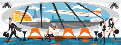 'French Layover' is a retro mid century modern styled high quality print that pays homage to the days of Pan Am Airlines by the artist Scooter. All prints are professionally printed, packaged, and shipped. Choose from multiple sizes and mediums.